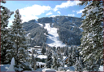 red River ki Area in Red River, NM blanketed by fresh snow is ready for skiiers and snowboarders.